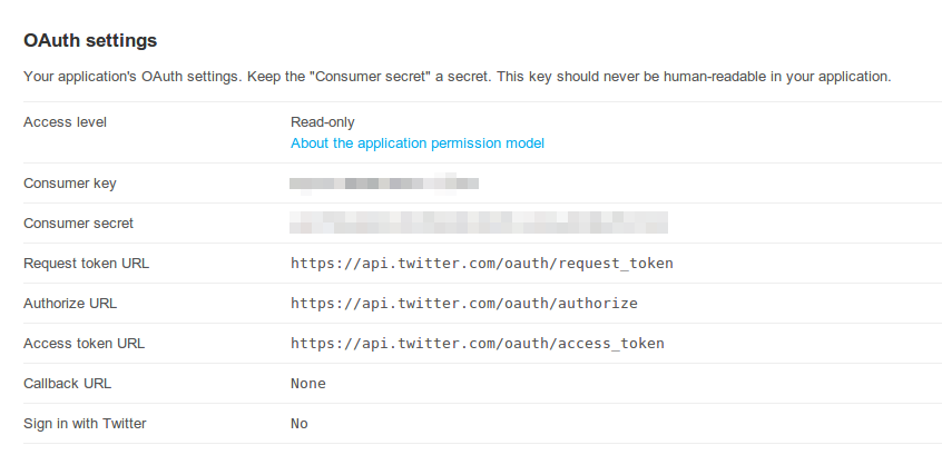OAuth settings for a Twitter application