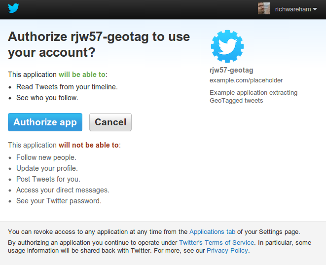 Twitter's authorisation page