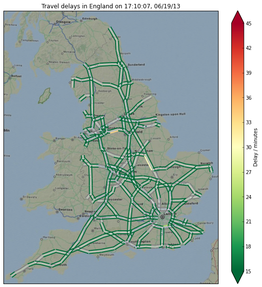 England's road network with journey delays